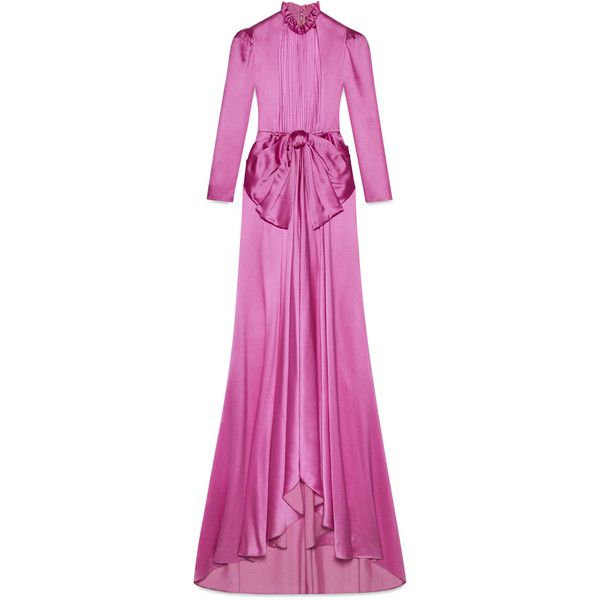 Gucci Long Sleeve Silk Gown ($8,200) ❤ liked on Polyvore featuring dresses, gowns, pink, long sleeve silk dress, pink long sleeve dress, renaissance gowns, pink silk dress and long sleeve embellished dress
