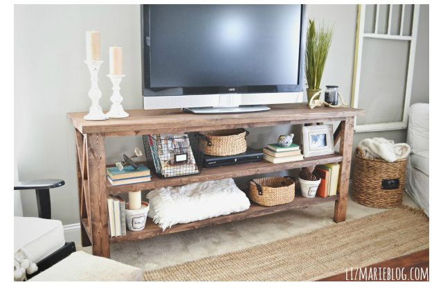 hide ugly cable boxes and wires with 6 diy tv stands. Black Bedroom Furniture Sets. Home Design Ideas