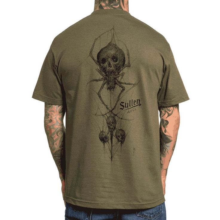 Inked Boutique - Mens Sullen Black Venom T-Shirt Military Green (Also available in red!) Spider Skull Tattoo Art Lifestyle, Artist: Brandon Herrera  - Find it at InkedBoutique.com!