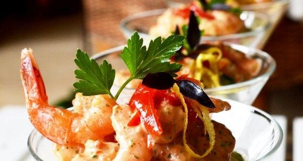 Shrimp Cocktail in a Peppadew and Italian parsley Maryrosé sauce   Imagination Food Design - Port elizabeth