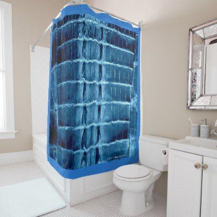 "VINTAGE ""HORNBACK"" ALLIGATOR IN CERULEAN BLUE SHOWER CURTAIN - shower curtains home decor custom idea personalize bathroom"