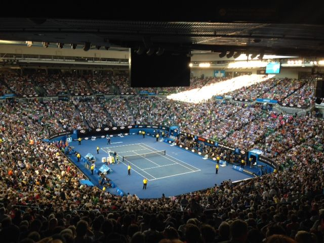 View from the corporate box at the #AustralianOpen Men's Final #roberthalf