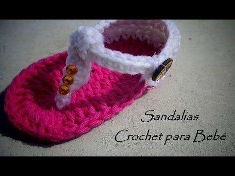 Sandalias para niña Tejidas a Ganchillo (Crochet) - YouTube