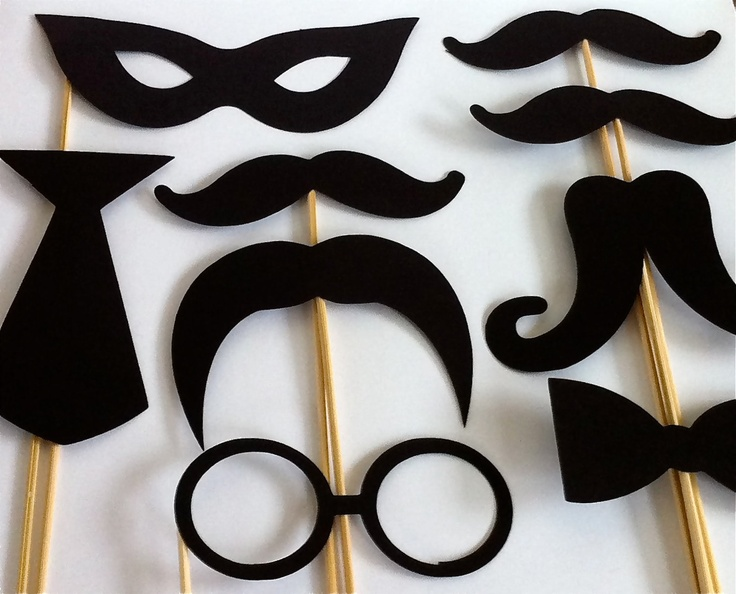 Photo Props Party Pack Set of 9 Wedding Photo Booth Props Party Photo Props Party Decorations Party Supplies Masks Glasses Mustache. $12.95, via Etsy.