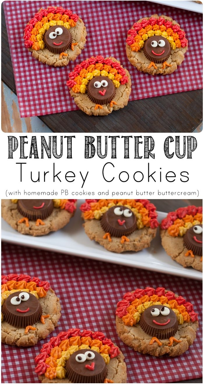 peanut butter cup turkey cookies ... SO cute for Thanksgiving! Made with homemade peanut butter cookies and peanut butter buttercream! | bakeat350.blogspot.com
