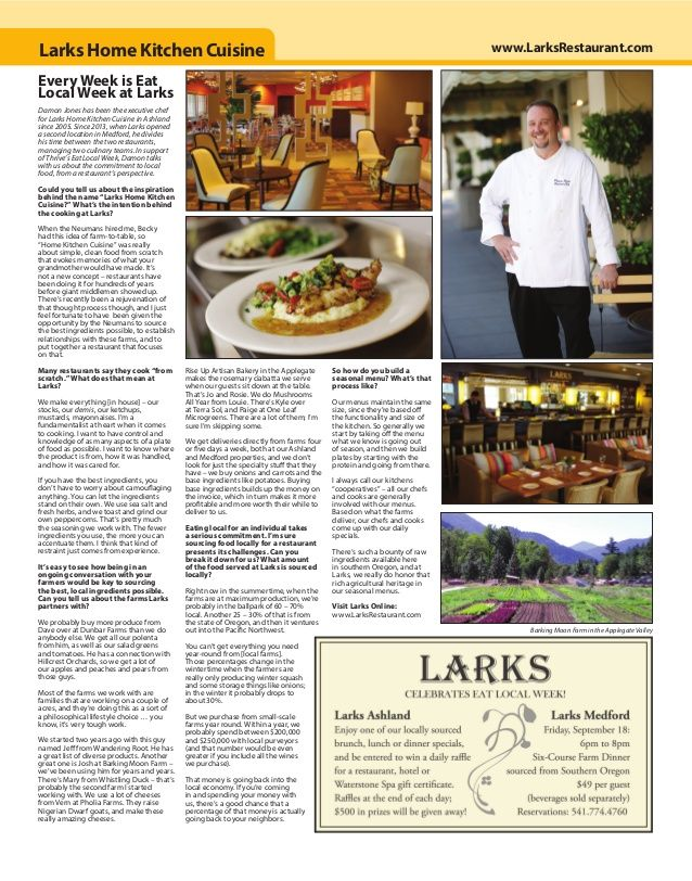 "RestaurantReview in Locals Guide Ashland: ""Every Week is Eat Local Week at Larks"" Damon Jones has been the executive chef for Lar..."
