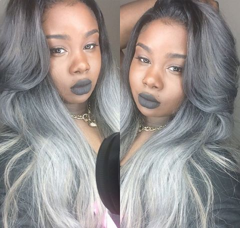 Dark grey to silver ombre