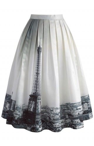 Eiffel Tower Dream Printed Midi Skirt - CHICWISH SKIRT COLLECTION - Skirt - Bottoms - Retro, Indie and Unique Fashion