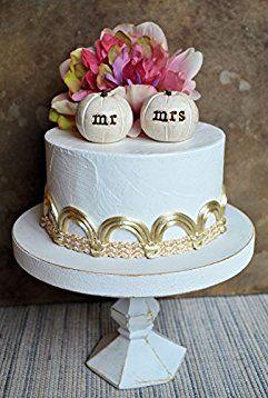 "Pumpkin wedding cake topper...2 rustic white ""mr mrs"" clay pumpkins"