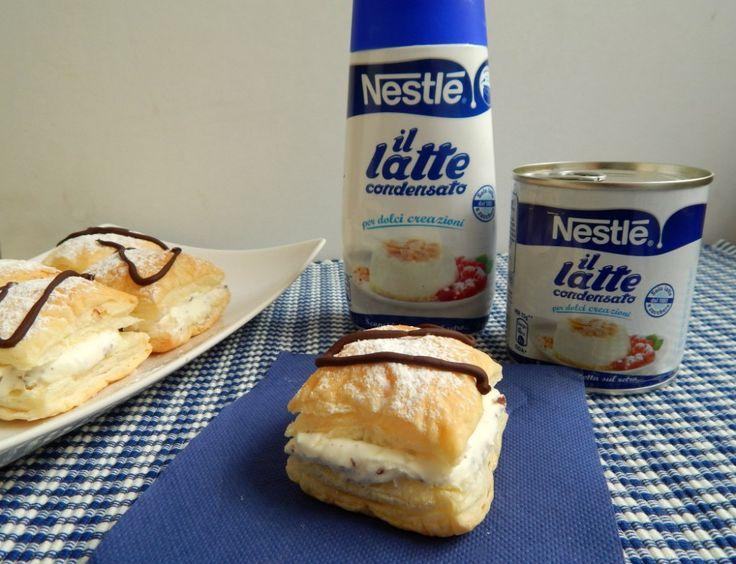 Sfogliatine con crema al latte condensato e scaglie di cioccolato
