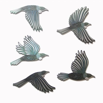 Set of 5 Coloured Tui Birds Wall Art