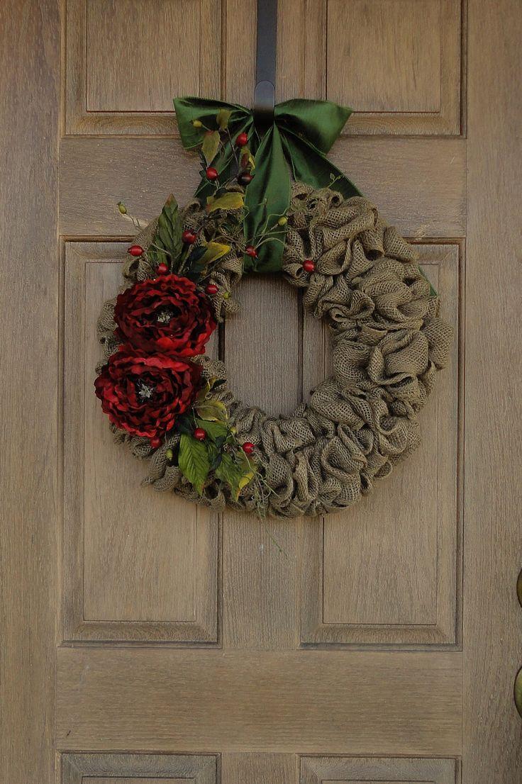 Holiday Wreath--Christmas Burlap Wreath--Burlap Wreath--Holiday  Burlap Wreath. $60.00, via Etsy.