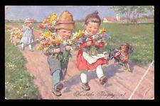 AK: HERZLICHE PFINGSTGRÜßE ! / Kinder mit Blumen - 1920