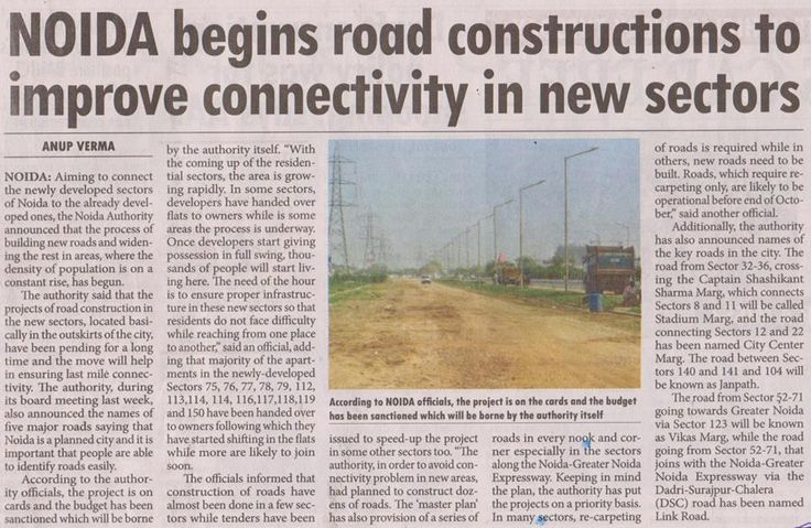 Good News! Noida begins road constructions to improve connectivity in new sectors.