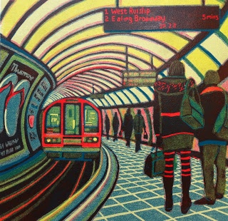 Have seen a very similar lino pring from 1940s - can't remember who but his one was by Gail Brodholt