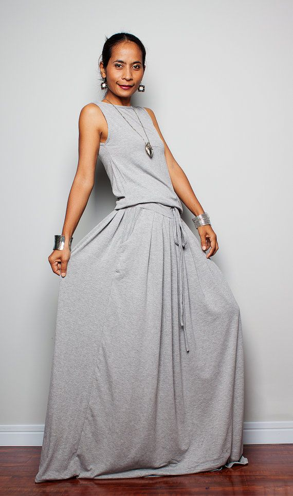 Maxi Dress -  Sleeveless Light Grey dress : Autumn Thrills Collection No.9   (New Arrival) on Etsy, $59.00