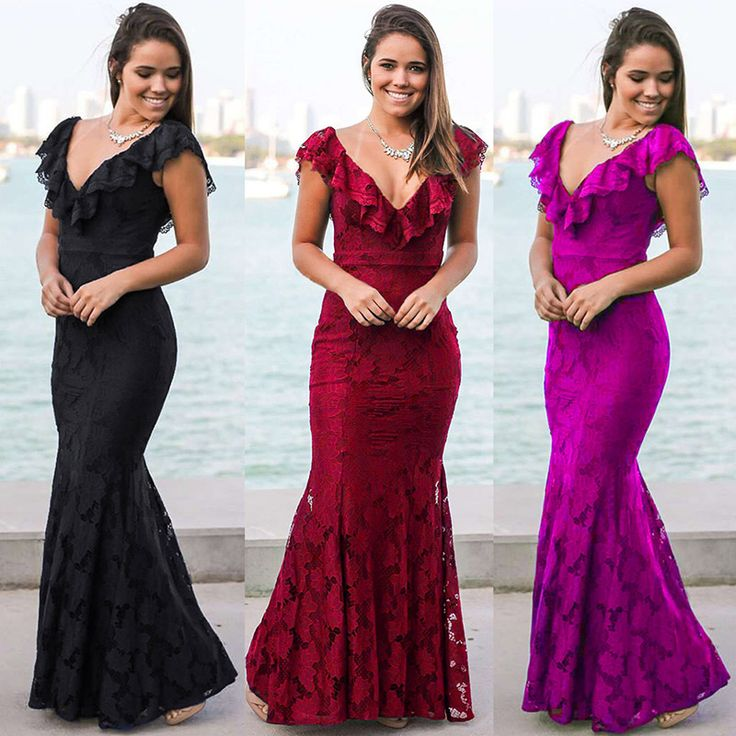 Ruffled Neckline Long mermaid Dress in Red and