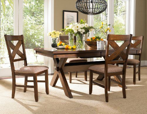 Roundhill Furniture Karven 5 Piece Solid Wood Dining Set With Table And 4 Chairs
