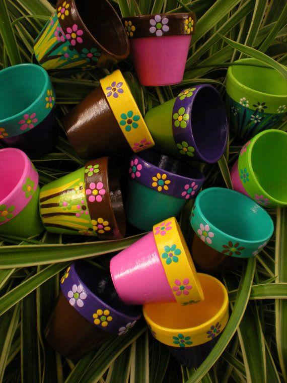 Pequeñas macetas pintadas - Set de 20 - flor olla favores de partido