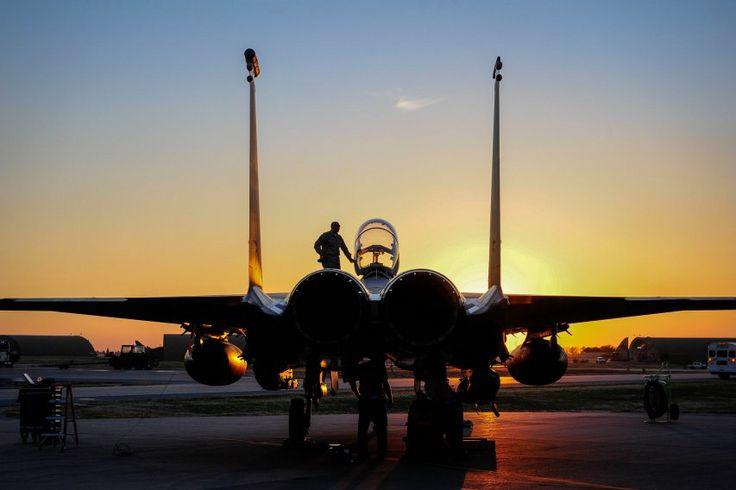An F-15E Strike Eagle sits on the flight line at Incirlik Air Base in Turkey on November 12.