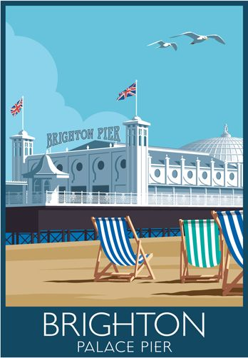 Palace Pier Railway Poster style Illustration (the owners changed the sign to Brighton Pier in 2000, an informal name change not recognised by the National Piers Society or many Brightonians). The full name of the pier is 'Brighton Marine and Palace Pier'