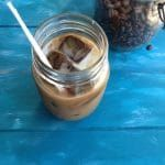 Iced Coconut Milk Latte Recipe , Homemade Iced coconut latte with espresso ice cubes and creamy coconut milk.
