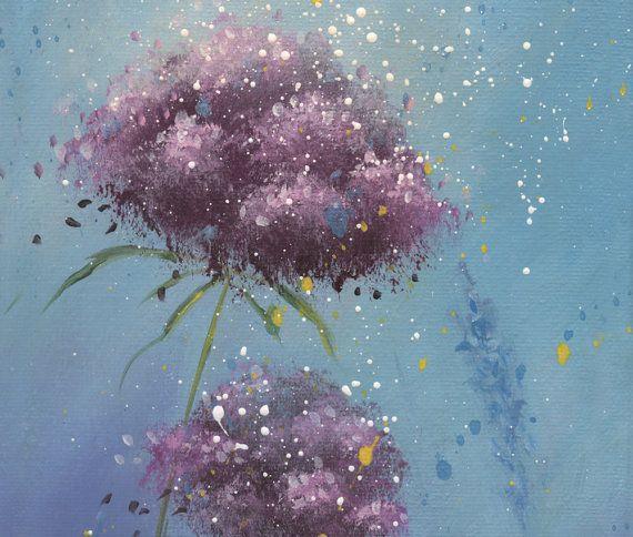 Rose fleurs acrylique peinture petite peinture par SnowtreeGallery