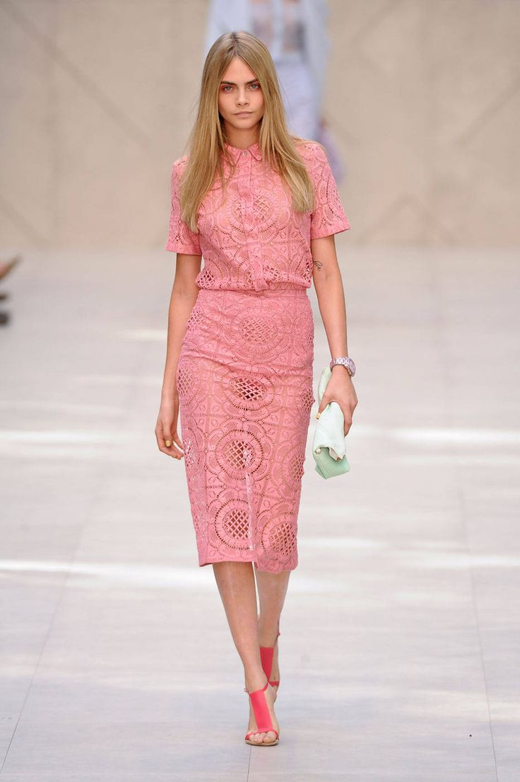 Spring 2014 Runway Report: First Blush Burberry! Pretty colour and material.