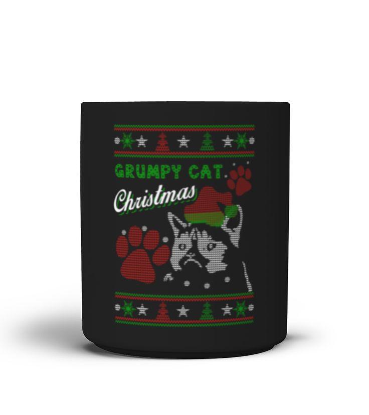 Christmas Cat Mug Grumpy Cat Lover Mug  Funny Christmas T-shirt, Best Christmas T-shirt