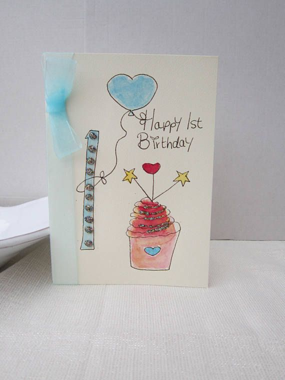 1st Birthday Card Watercolour Son Godson