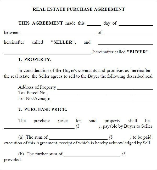Real Estate Purchase Agreement Template Real Estate Contract