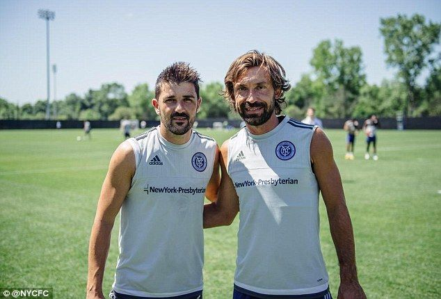 David Villa (left) was among the first to welcome Andrea Pirlo at New York City FC