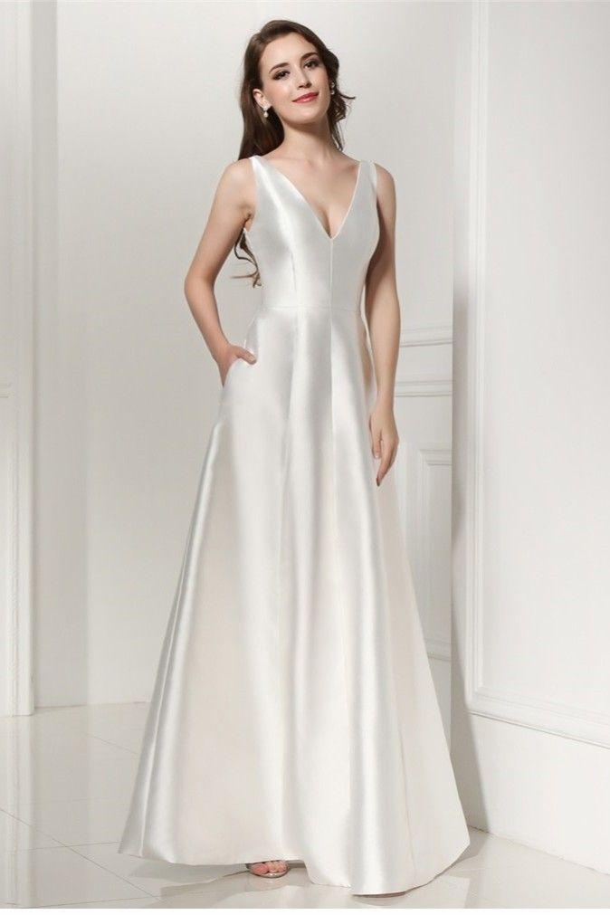 V Neck Plain White Satin Wedding Dress