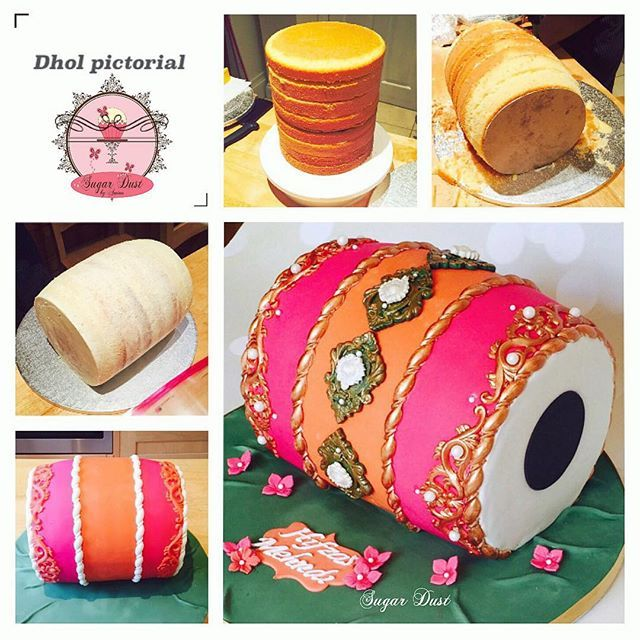 "Quick dhol cake pictorial and basic steps:  1) I baked 4 deep 8"" sponges (bake more if wider size is required) fill, level and stack them.  2) I used 2 big poly dowels on either side (use more if desired) and with the help of 2 cake cards at both ends"