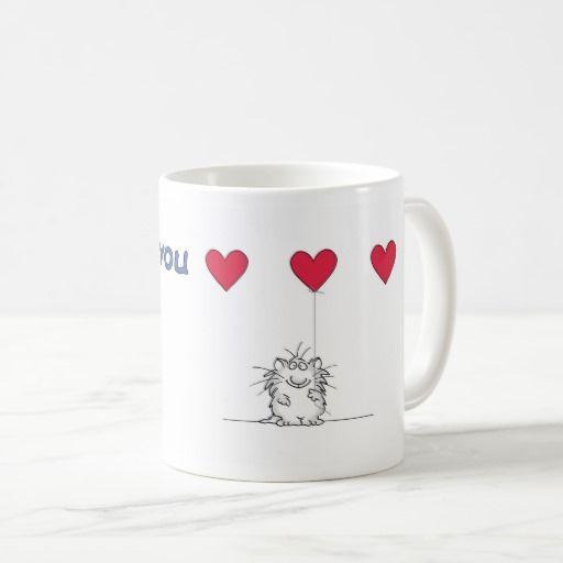 Sandra Boynton LOVE YOU CAT Coffee Mug. Regalos, Gifts. Producto disponible en tienda Zazzle. Tazón, desayuno, té, café. Product available in Zazzle store. Bowl, breakfast, tea, coffee. Día de los enamorados, amor. Valentine's Day, love. #ValentinesDay #SanValentin #love #taza #mug
