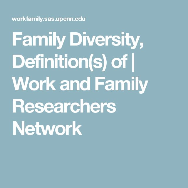 Family Diversity, Definition(s) of | Work and Family Researchers Network