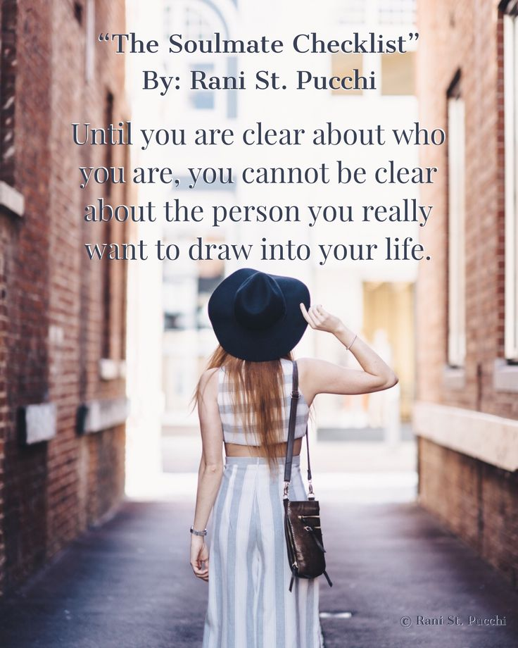 Until you are clear about who you are, you cannot be clear about the person you really want to draw into your life.  The Soulmate Checklist is Available to purchase today https://www.amazon.com/dp/0997697768/ref=sr_1_1?s=books&ie=UTF8&qid=1480513915&sr=1-1&keywords=9780997697766&utm_content=buffer96eb5&utm_medium=social&utm_source=pinterest.com&utm_campaign=buffer
