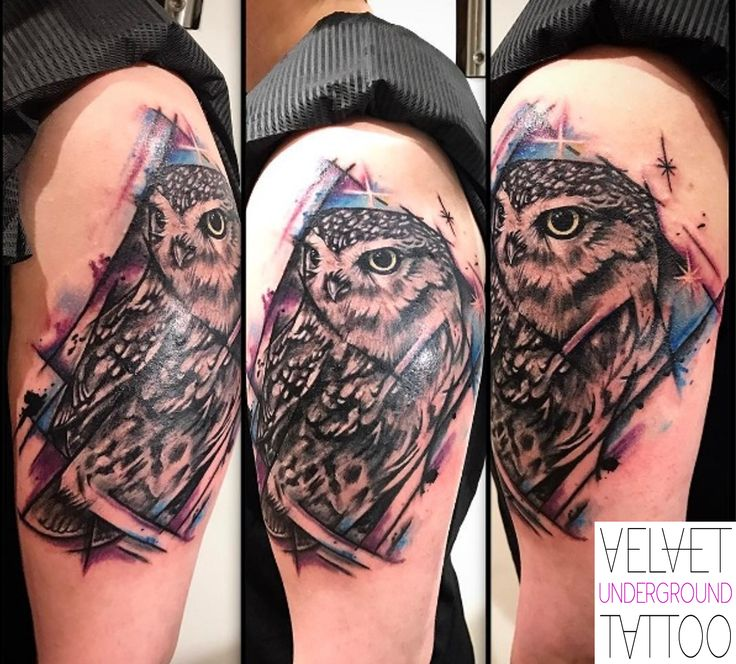 Watercolour Galaxy Owl Tattoo by Vivi Ink at Velvet Underground Tattoo