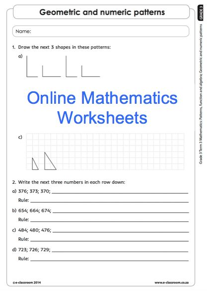 Grade 3 Online Mathematics Worksheets number patterns For more visit www.e-classroom.co.za!