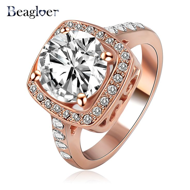 Beagloer 2016 Big Promotion Begloer Rose Gold /Silver Plated SWA Element Austrian Crystal Engagement Rings Wholesale Ri-HQ1003