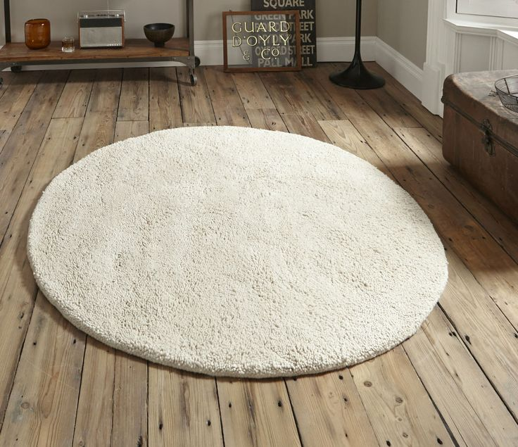 CLEARANCE - Snowdon ivory white wool circle rug 150cm (5ft diameter)