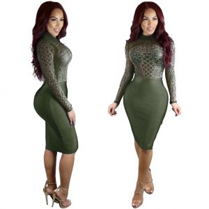 US$5.75 Sexy Beaded Bodycon Dress with Sleeves 23386-4