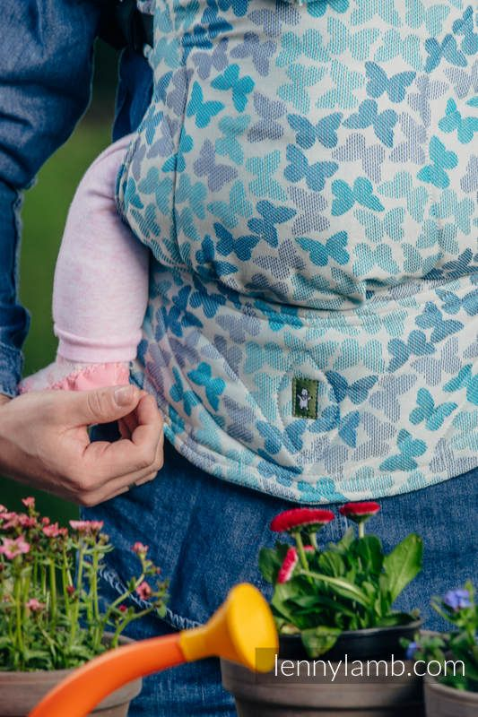 ERGONOMIC CARRIER, BABY SIZE, JACQUARD WEAVE 100% COTTON - WRAP CONVERSION FROM BUTTERFLY WINGS BLUE - SECOND GENERATION