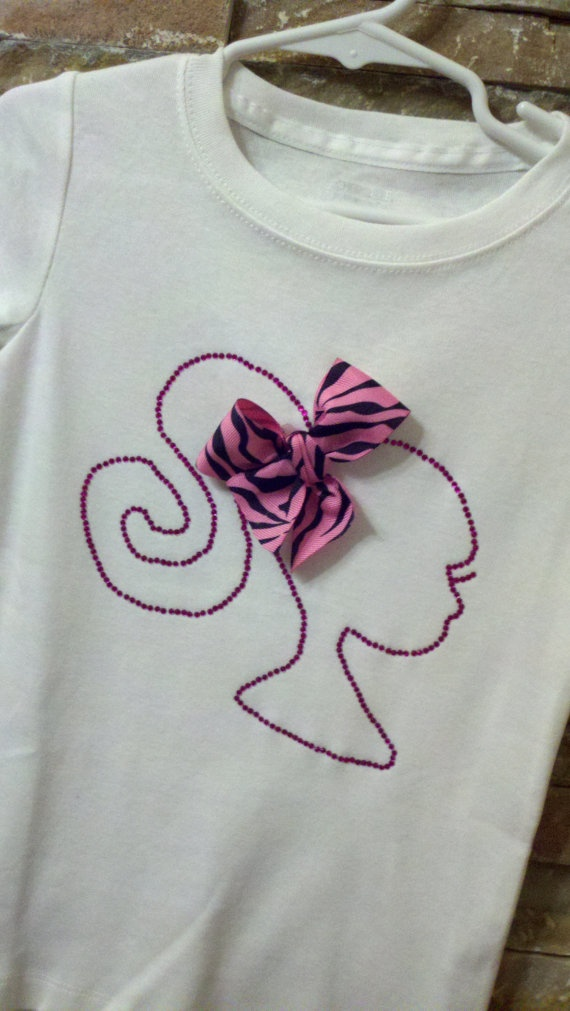 Barbie inspired silhouette rhinestone shirt with bow