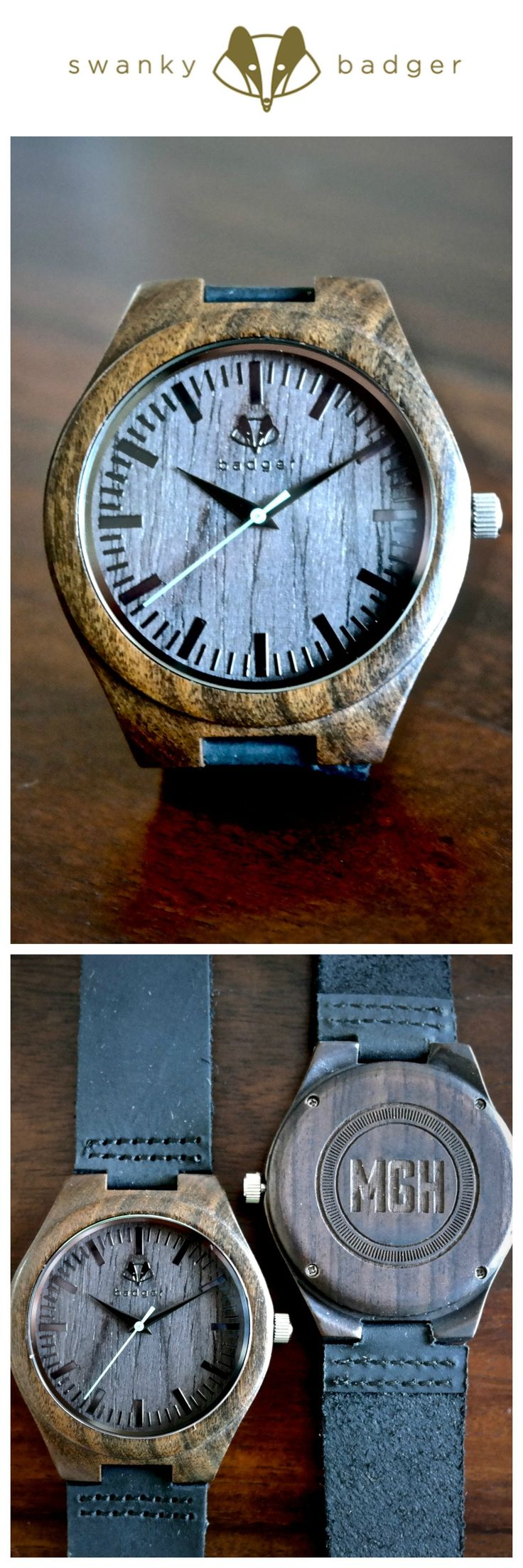 Stylish Personalized Sandalwood watch from Swanky Badger www.swankybadger.com  - great gift for groom or groomsmen https://swankybadger.com/collections/watches/products/copy-of-bamboo-watch-initials-1