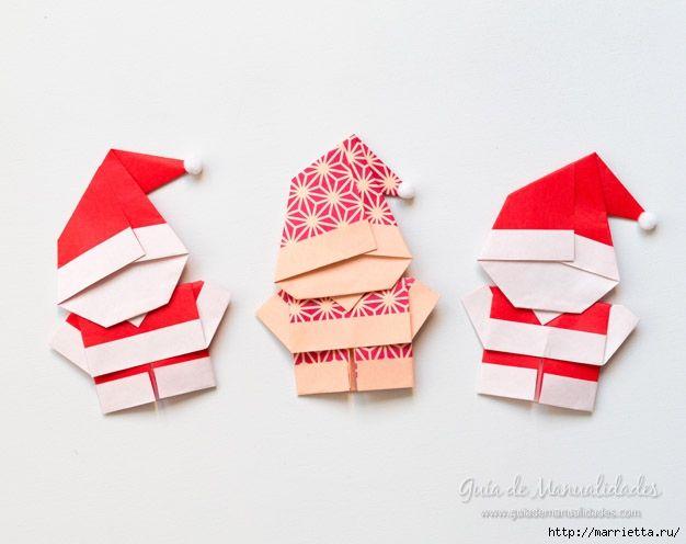 Санта Клаус из бумаги в технике оригами (9) (626x496, 114Kb)
