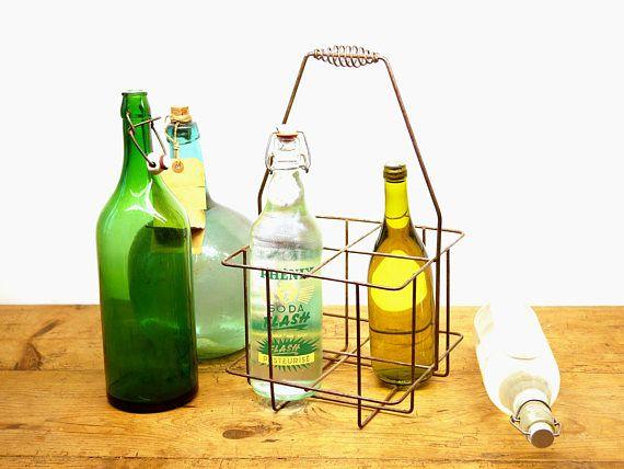 Vintage Metal Wire Bottle Holder French Basket Storage Bottle Bottle Holders Vintage Metal