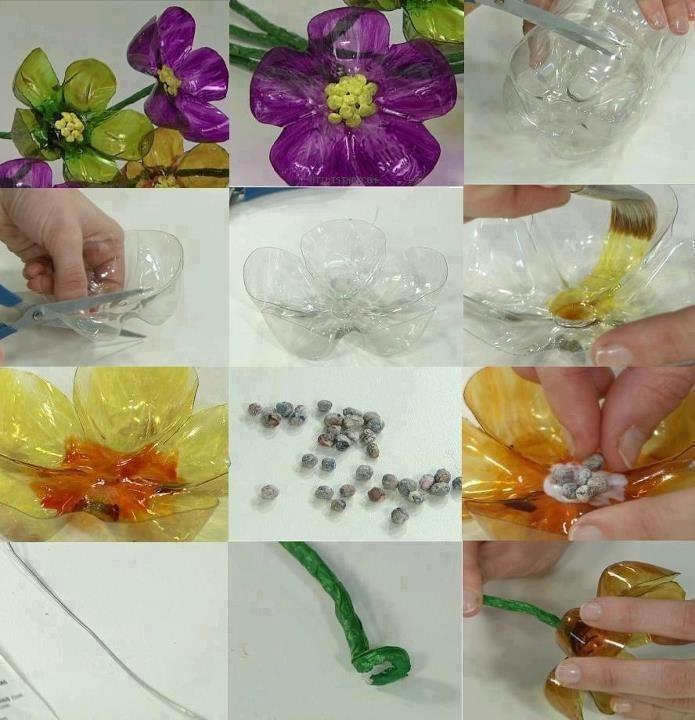 Leuke bloemen gemaakt van plastic flessen