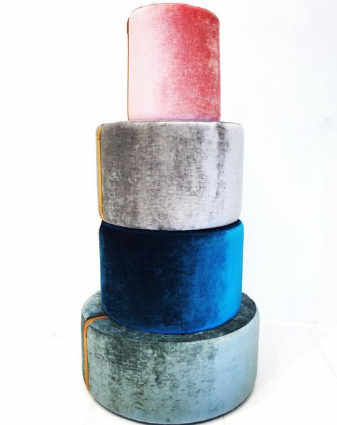 Turkos, blå, grå, rosa, Baggen sammet puff, fotpall, sittpuff, skinn, rem, möbler, inredning, detalj, vardagsrum, rund, pall, sovrum, hall.