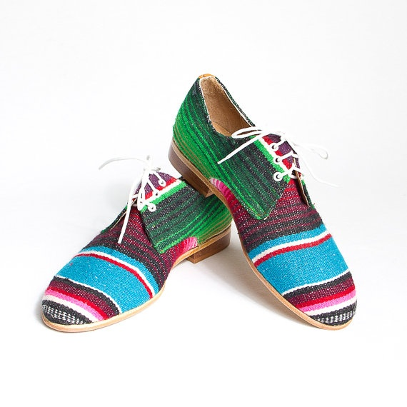 mexican blanket  zarape  oxford derby shoes  FREE by goodbyefolk, $210.00